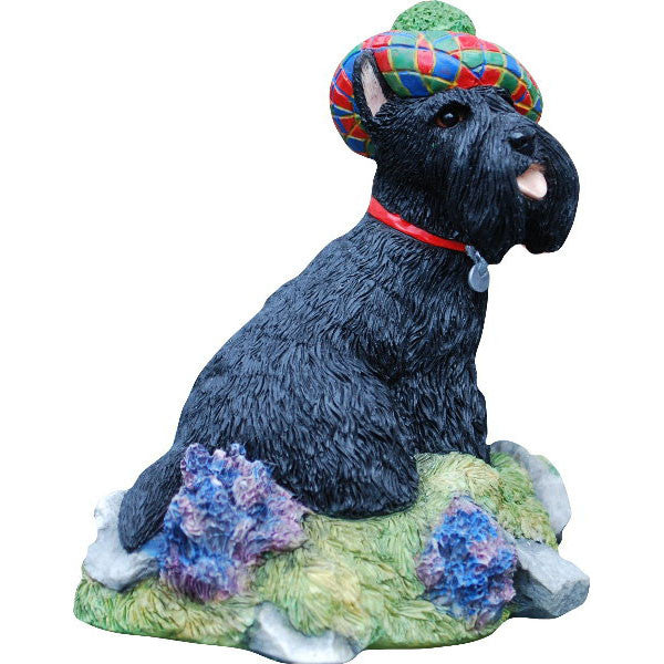 Scottish Terrier Sculpture with tartan bonnet