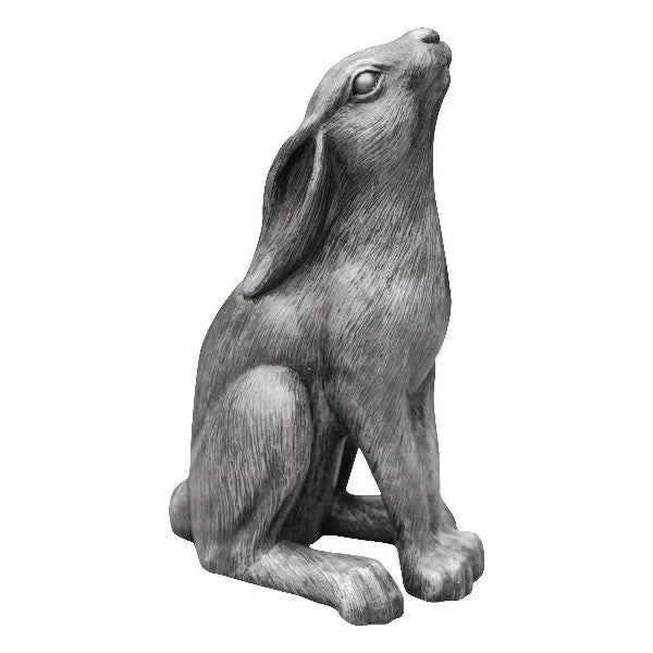 "Moon Gazing Hare Sculpture 6"" high Silver"