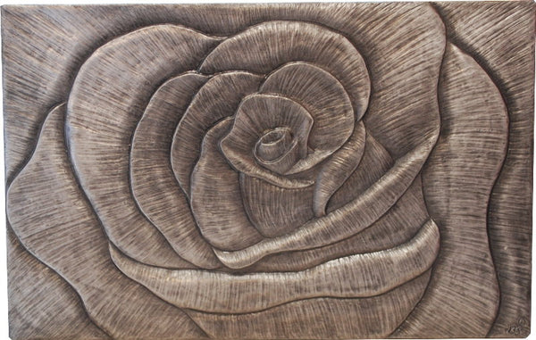 SilverRose Wall Plaque Home Decor Sculpture Size 11 x 8inch Handmade by Peakdalesculptures