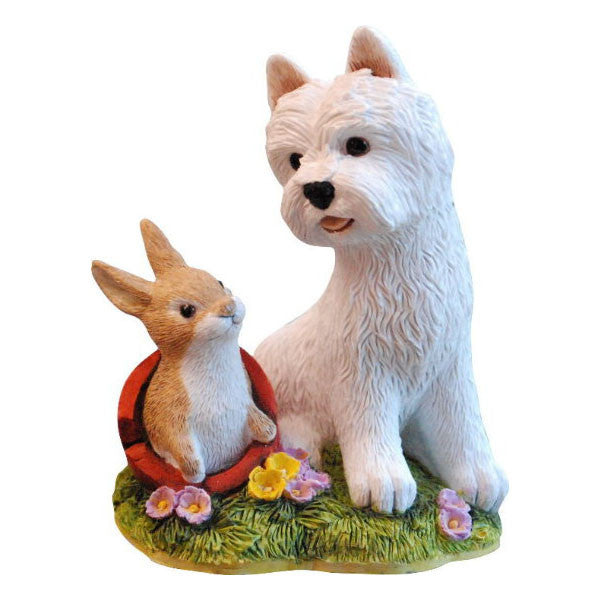 Springtime Westie and Cute Bunny Figurine Gift