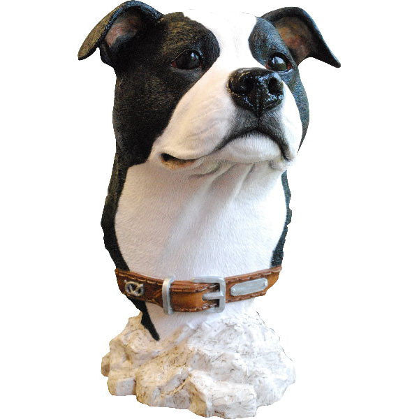 Staffordshire Bull Terrier Bust Sculpture Black and White