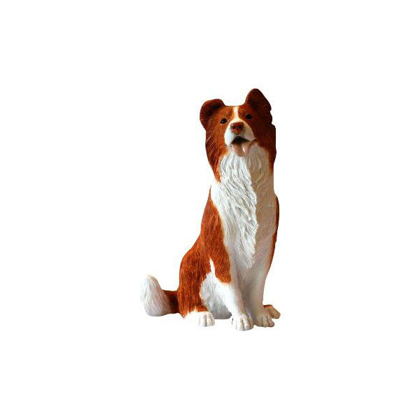 Tan coloured Border Collie sitting sculpture