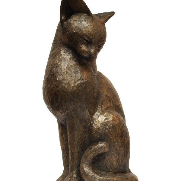 Cat Sitting Bronze 15cm | PeakdaleSculptures