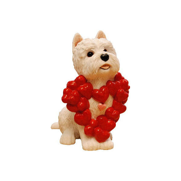 Westie Hearts of love Figurine Ornament by Peakdalesculptures
