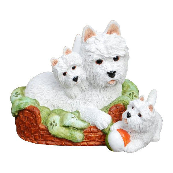 Westie Mum and Pups in basket Ornament