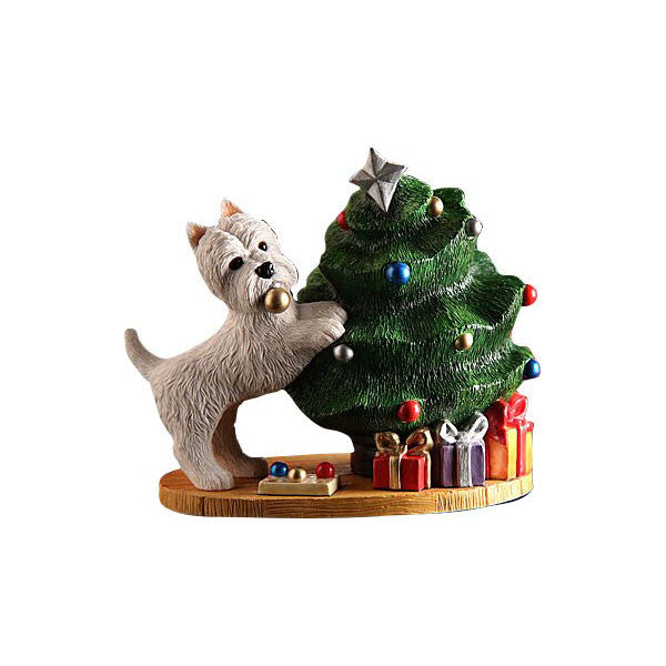 Christmas Westie Dressing the Tree