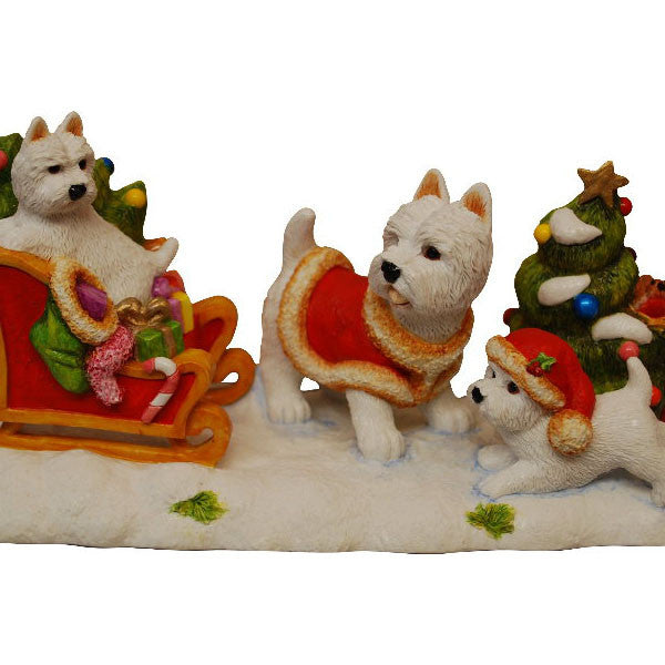 Ltd Ed of 50 Christmas Westies on Sleigh without base