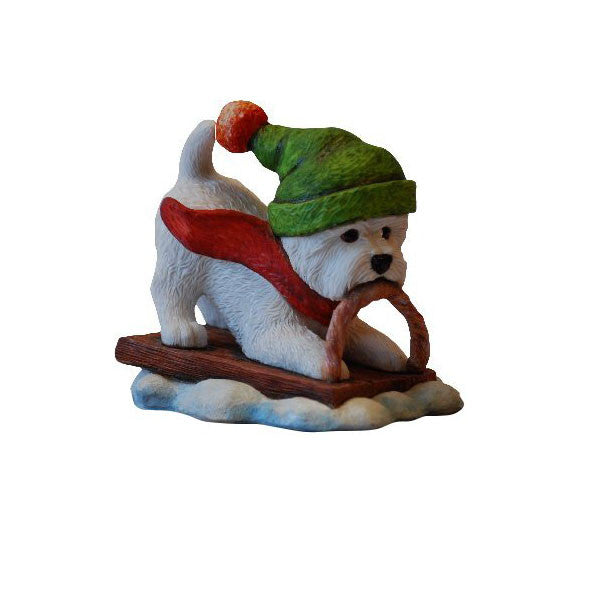 Whee Westie on sleigh without base