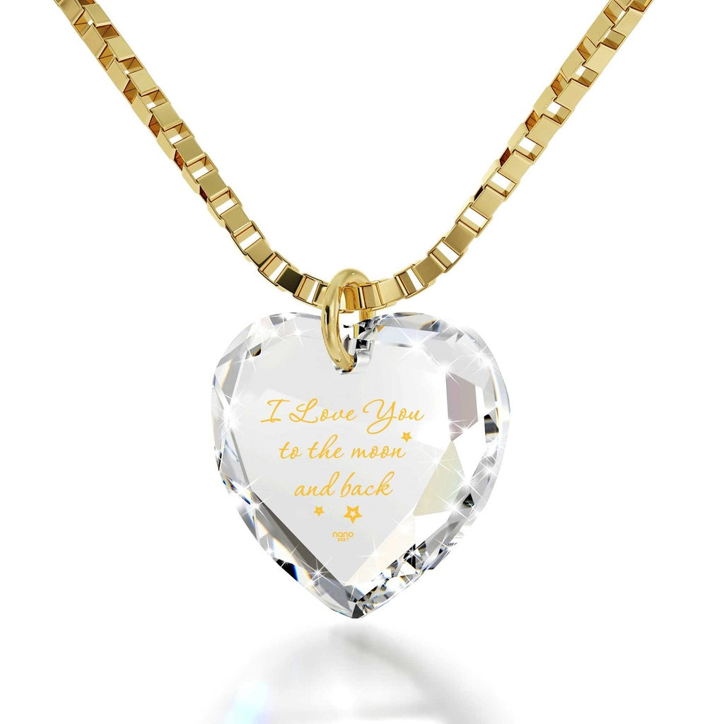 """I Love You to the Moon and Back"", 24k Gold Plated Necklace, Swarovski - Eazideal Jewelry Galore"