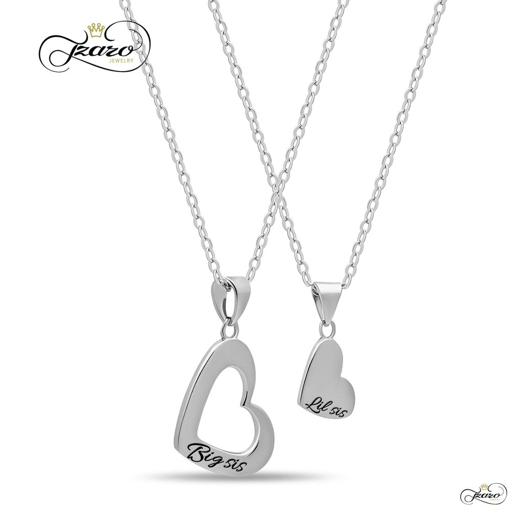 Sister Heart Necklace Set for Big Sis Lil Sis, 925 Silver, Silver Plated Necklaces - Eazideal Jewelry Galore