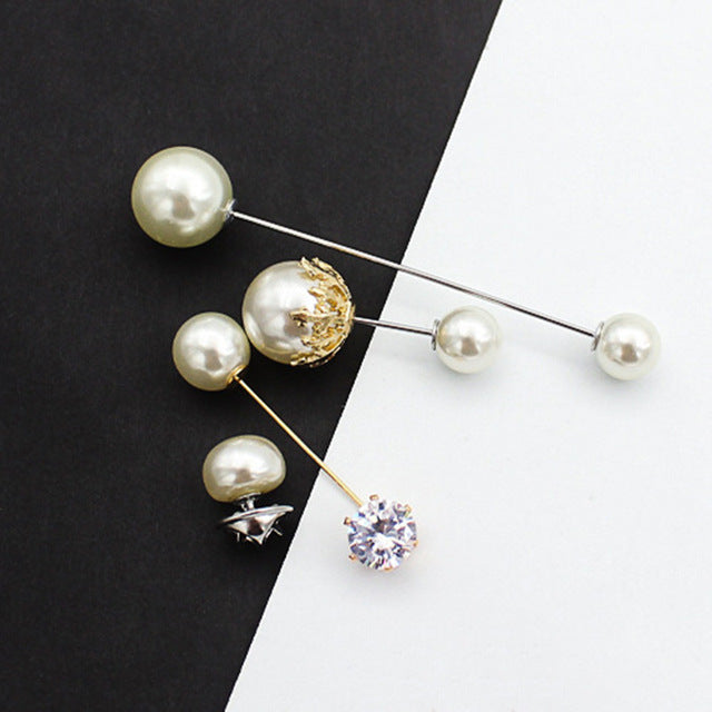 Pearl Crystal Brooch Fixed Strap 3/5 pcs