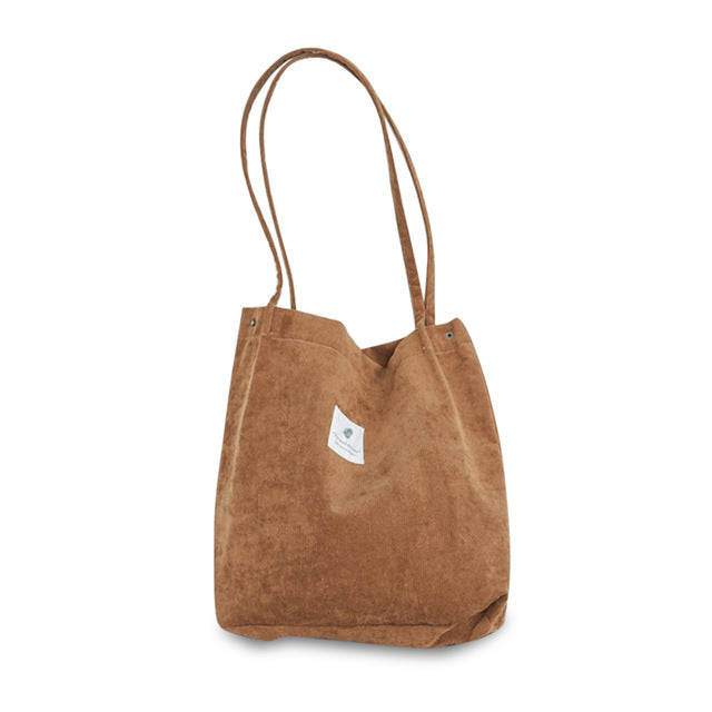 Corduroy Tote Shoulder Bag-Foldable(Brown)