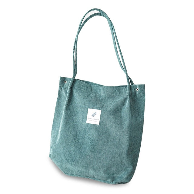 Corduroy Tote Shoulder Bag-Foldable(Green)