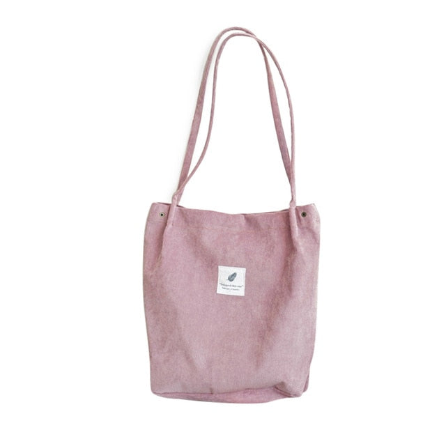 Corduroy Tote Shoulder Bag-Foldable(Pink)
