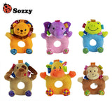 Sozzy 6 Styles Baby Cheerful Rocking Toys Crinkle Sound Soft Gentle Rattle Plush Toy Cute Animals Lion Elephant Frog Monkey 0M+