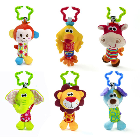 6pcs Baby 0+ Plush Toy Crib Bed Hanging Ring Bell Toy Soft Baby Rattle Animals Dog Elephant Monkey Lion Early Educational Doll