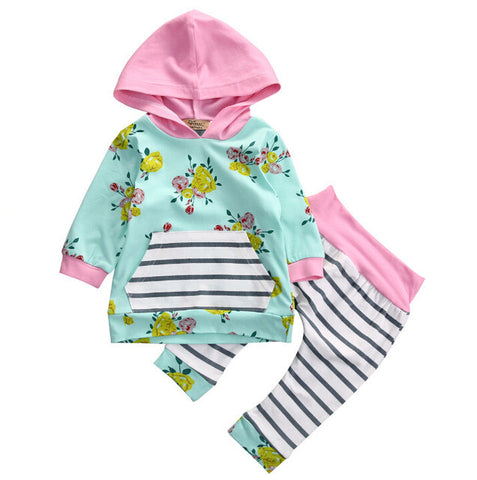 Newborn Baby Infant Girls Clothes Tops T-Shirts Long Sleeve Outfits Flower Pants Casual Hooded Baby Girl Clothing New