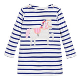 Girls Dresses Long Sleeve 2017 Spring Brand Kids Dress For Girls Clothes Robe Enfant Striped Animal Print Costume For Girl Dress