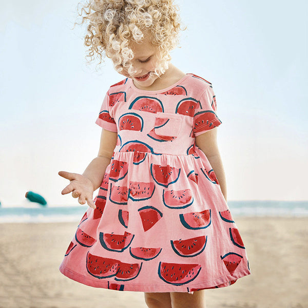 Girls Birthday Party Dress Watermelon Baby Girls Casual Dress Designs For Girl Summer Clothes 100% Cotton Little Girls Dresses