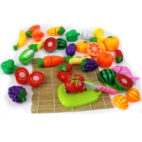 Top Sale 24Pcs/Lot Plastic Kitchen Toys Food Fruit Vegetable Cutting  Pretend Play Kids Children Educational Toy