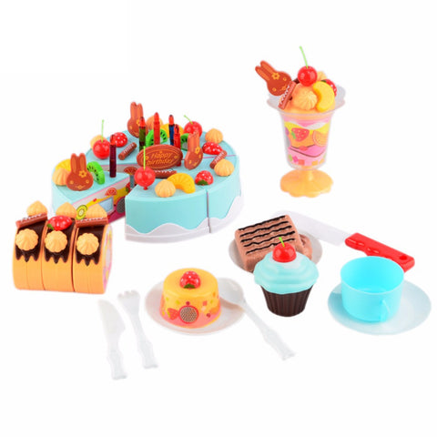 75pcs DIY Cutting Birthday Cake Children Kids Baby Early Educational Classic Toy Pretend Play Kitchen Food Plastic Toy Gift