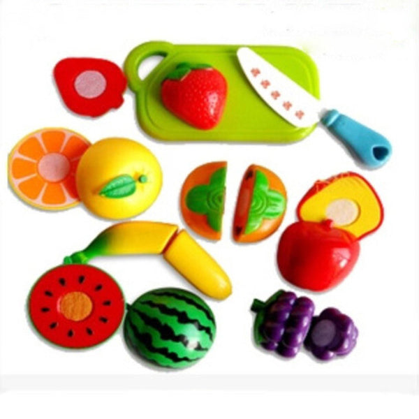 Funny gadgets Plastic Cutting fruits Kitchen Food Pretend Play House Artificial Baby Children Kids Classic Toy Birthday Party