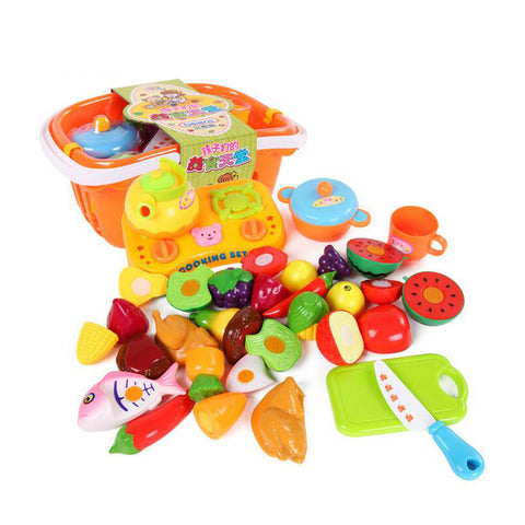 21pcs/set Kitchen Fun Cutting Fruits & Vegetables Food Playset Cooking for Kids Brand Toys ABS Plastic Safe