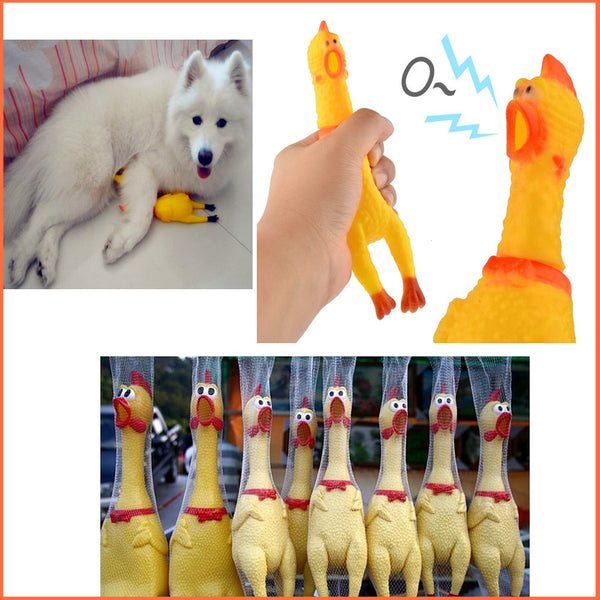 Funny gadgets 32cm High Quality novelty  Yellow rubber Dog Toy Fun Novelty Squawking Screaming Shrilling Rubber Chicken for kids
