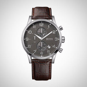 Hugo Boss 1512570 Mens Chronograph Watch With Grey Dial and Croc Embossed Leather Strap