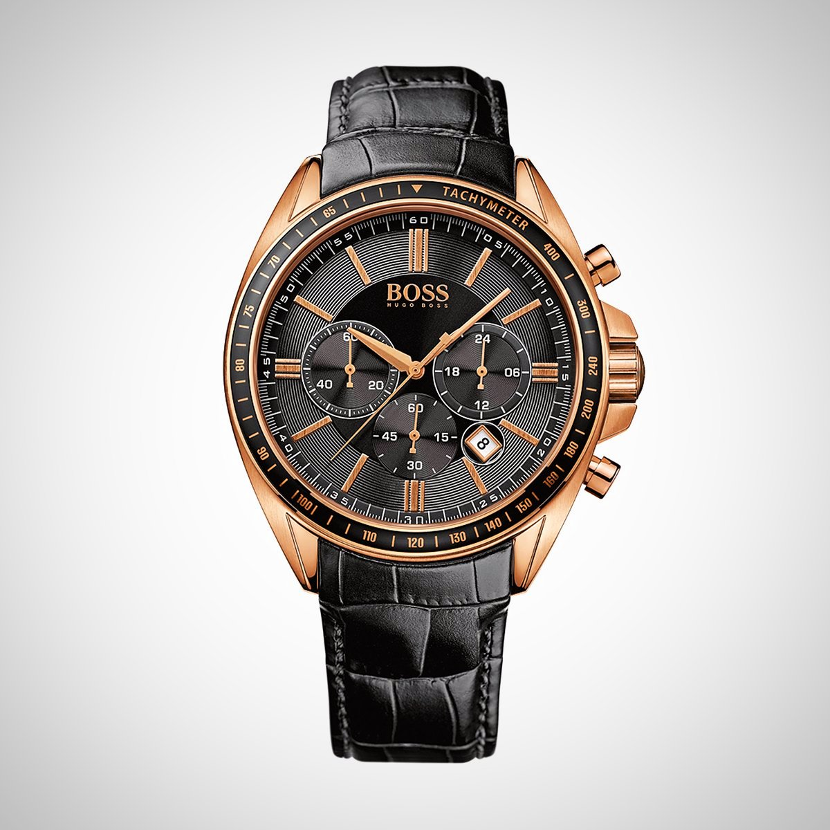 Hugo Boss 1513092 Men's Chronograph Watch With Black Croc Embossed Leather Strap