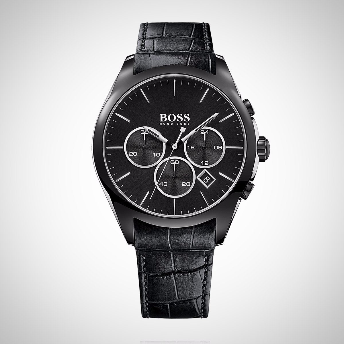 Hugo Boss 1513367 Men's Leather Strap Black Dial Chronograph Quartz Watch