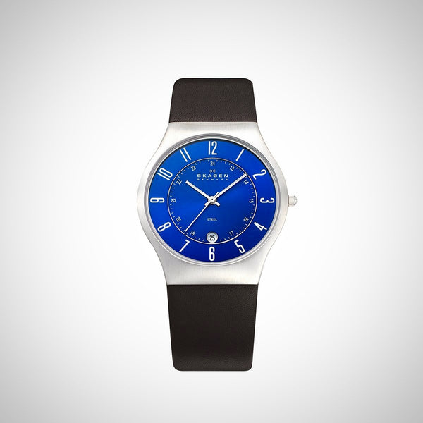 Skagen 233XXLSLN Men's Leather Analogue Blue Dial Watch