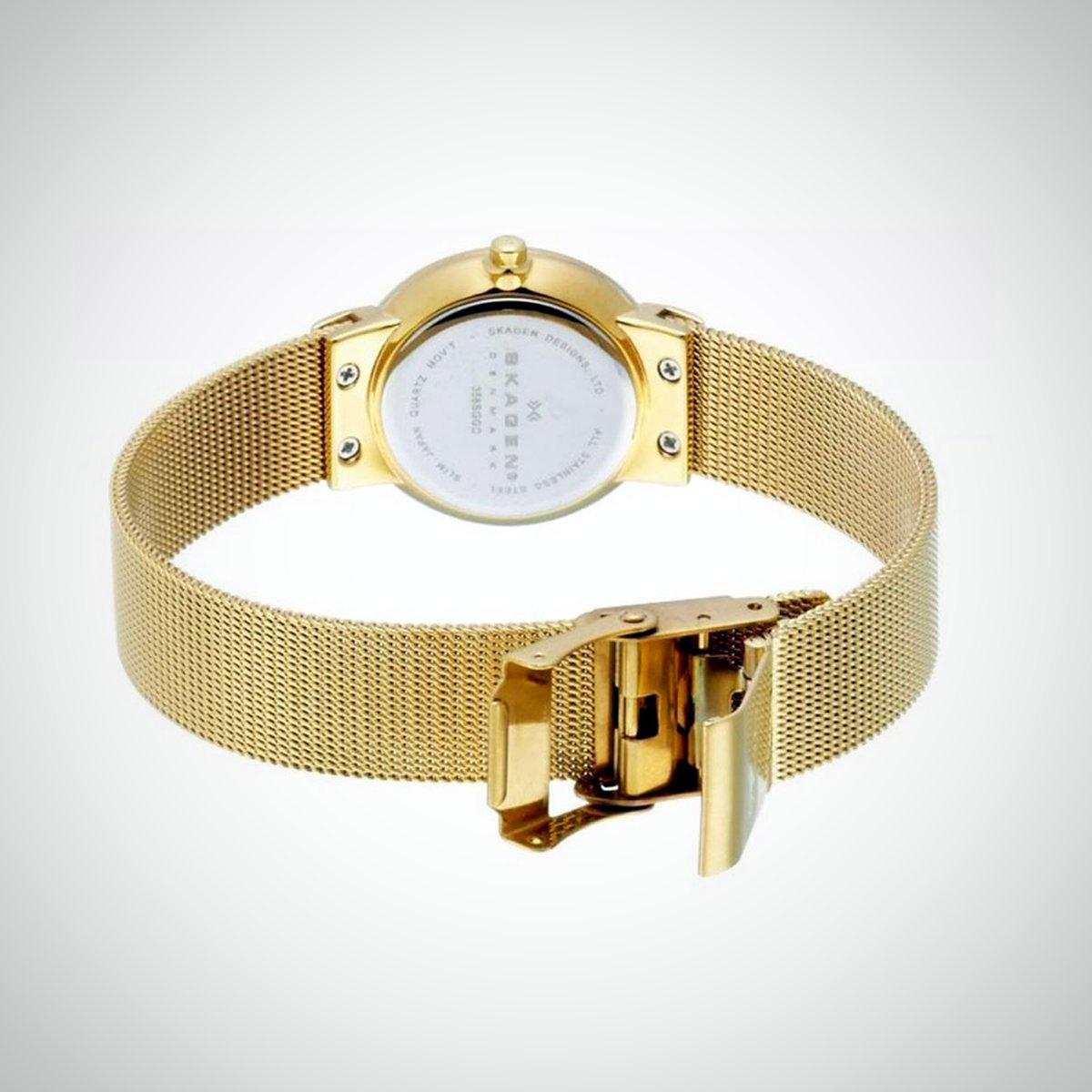 Skagen 358SGGD Women's PVD Gold Plated Case Gold Strap Silver Dial Watch