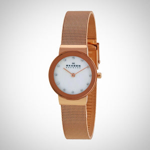 Skagen 358SRRD Women's Gold Stainless Steel Strap and Mother Of Pearl Dial Watch