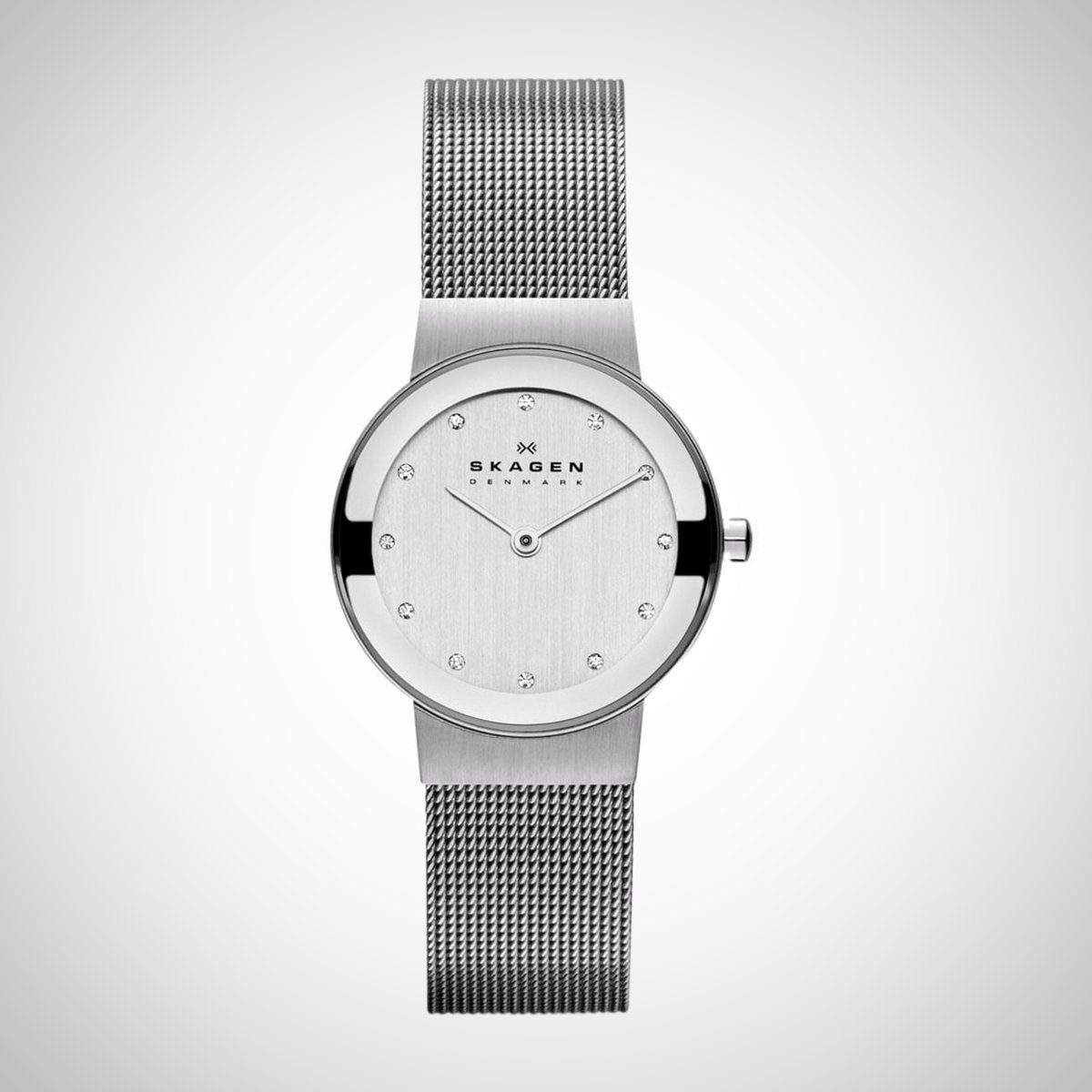 Skagen Ladies Silver Dial Mesh Strap Watch - 358SSSD