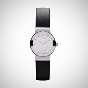 Skagen 358XSSLBC Women's  Steel Collection Black Leather Glitz Watch
