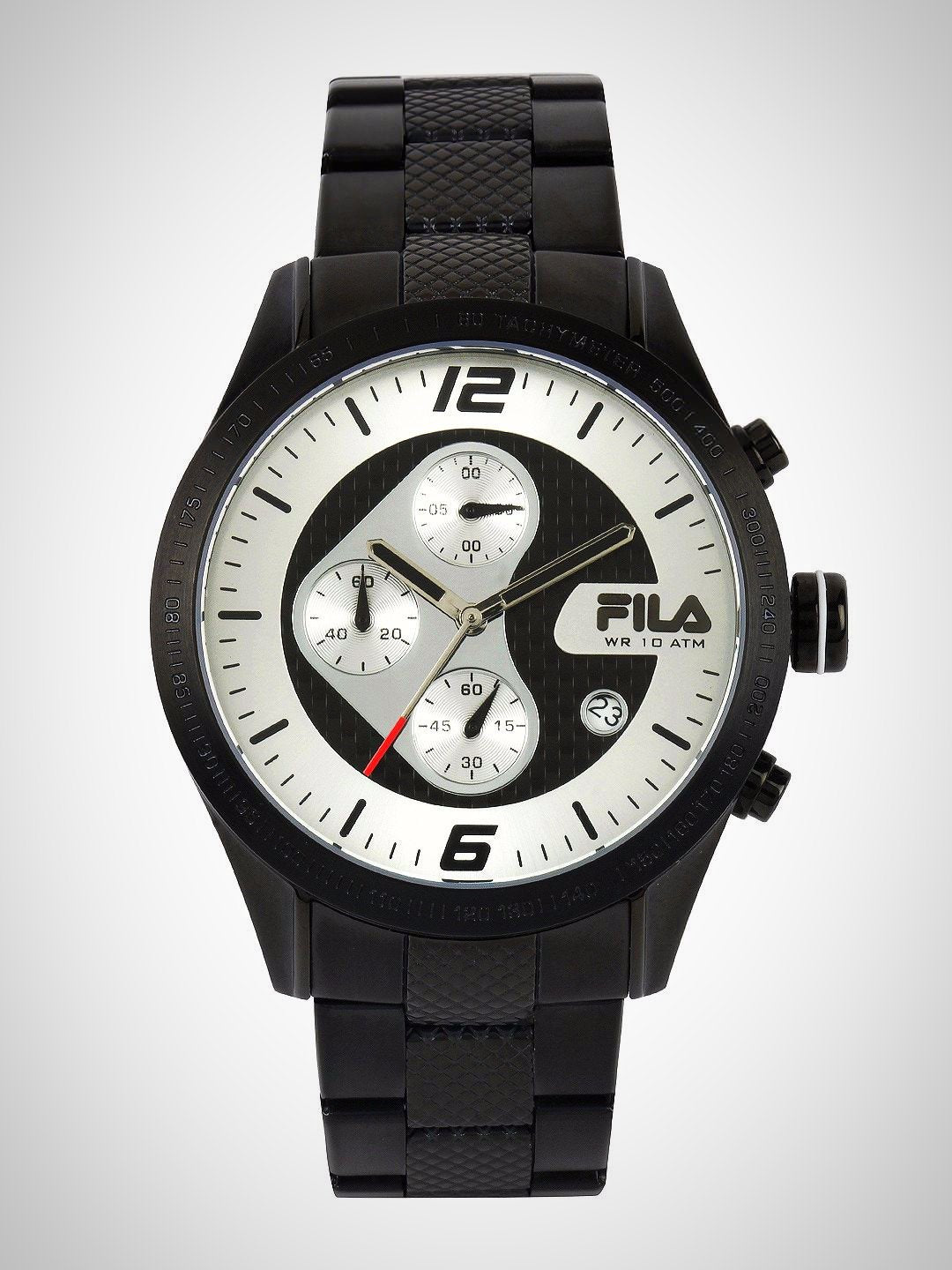 Fila 38-001-003 Men's Black Chronograph Silver Dial Stainless Steel Quartz Watch