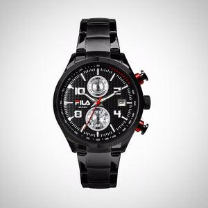 Fila Sports Clock Model 38-008-002 Chronograph Black Stainless Steel Quartz Watch