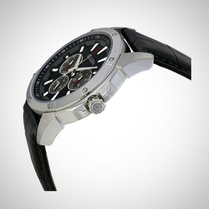 Bulova 96C113 Marine Star Men's Multi-Function Black Leather Strap Quartz Watch