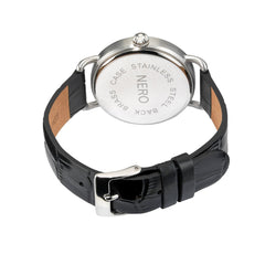 Nero 96 Nuovo Unisex Black Italian Leather Strap Quartz Watch