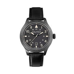 Nautica Men's Black Leather Watch A11107G