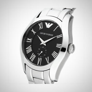 Emporio Armani AR0680 Mens Watch Black Dial Stainless Steel Bracelet