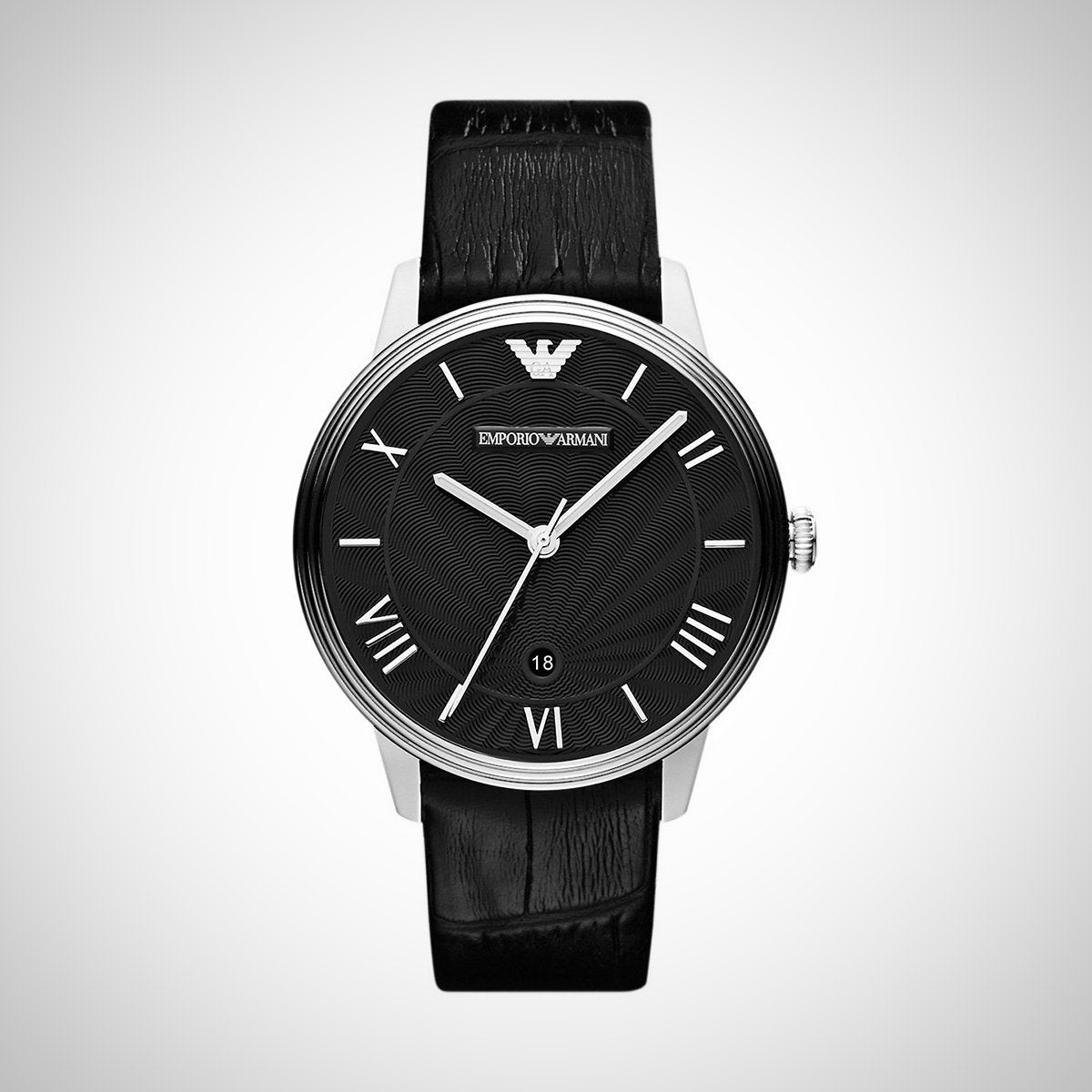 Emporio Armani AR1611 Black Dial Black Leather Men's Watch