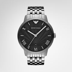 Emporio Armani AR1614 Men's Black Dial Stainless Steel Quartz Watch