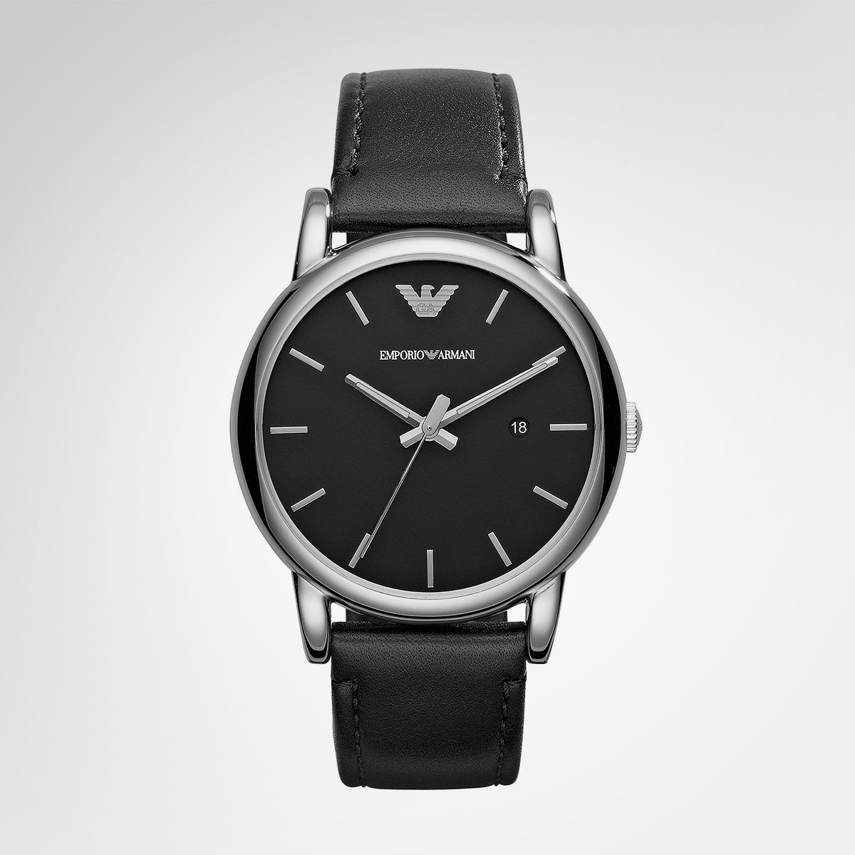 Emporio Armani AR1692 Classic Men's Black Dial Black Leather Strap Quartz Watch