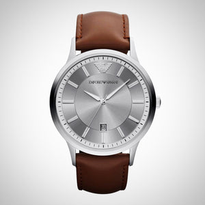 Emporio Armani AR2463 Men's RENATO Leather Brown Chronograph Watch