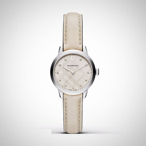 Burberry Women's Swiss Diamond Accent White Leather Strap Watch 32mm BU10105.