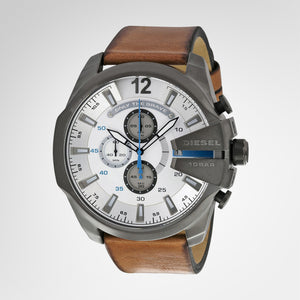 Diesel DZ4280 Mega Chief Men's Chronograph White Dial Brown Leather Quartz Watch