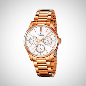 Festina F16814/2 Quartz Analogue Stainless Steel Rose Gold Ladies Watch