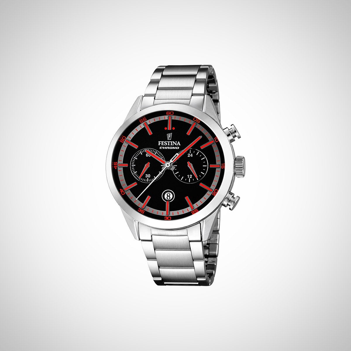 Festina F16826/6 Mens Black Dial Red Markers Chronograph Watch
